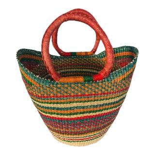 Medium African Bolga Ghana Woven Yikene Basket - Orange For Sale