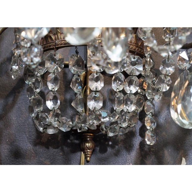 Pair of Antique French Crystal Three-Light Wall Sconces For Sale - Image 4 of 7