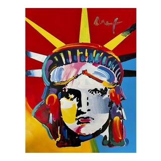 Liberty Head, Mixed Media Painting, Peter Max For Sale