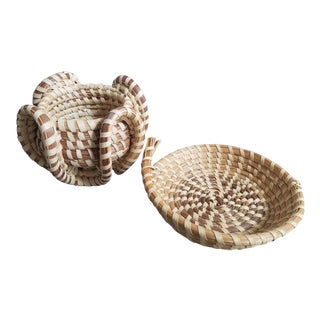 Carolina Sweet Grass Baskets, 2 Piece For Sale