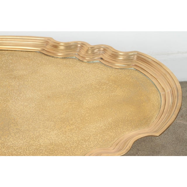 Mid 20th Century 1970s Hollywood Regency Baker Brass Tray Table For Sale - Image 5 of 10