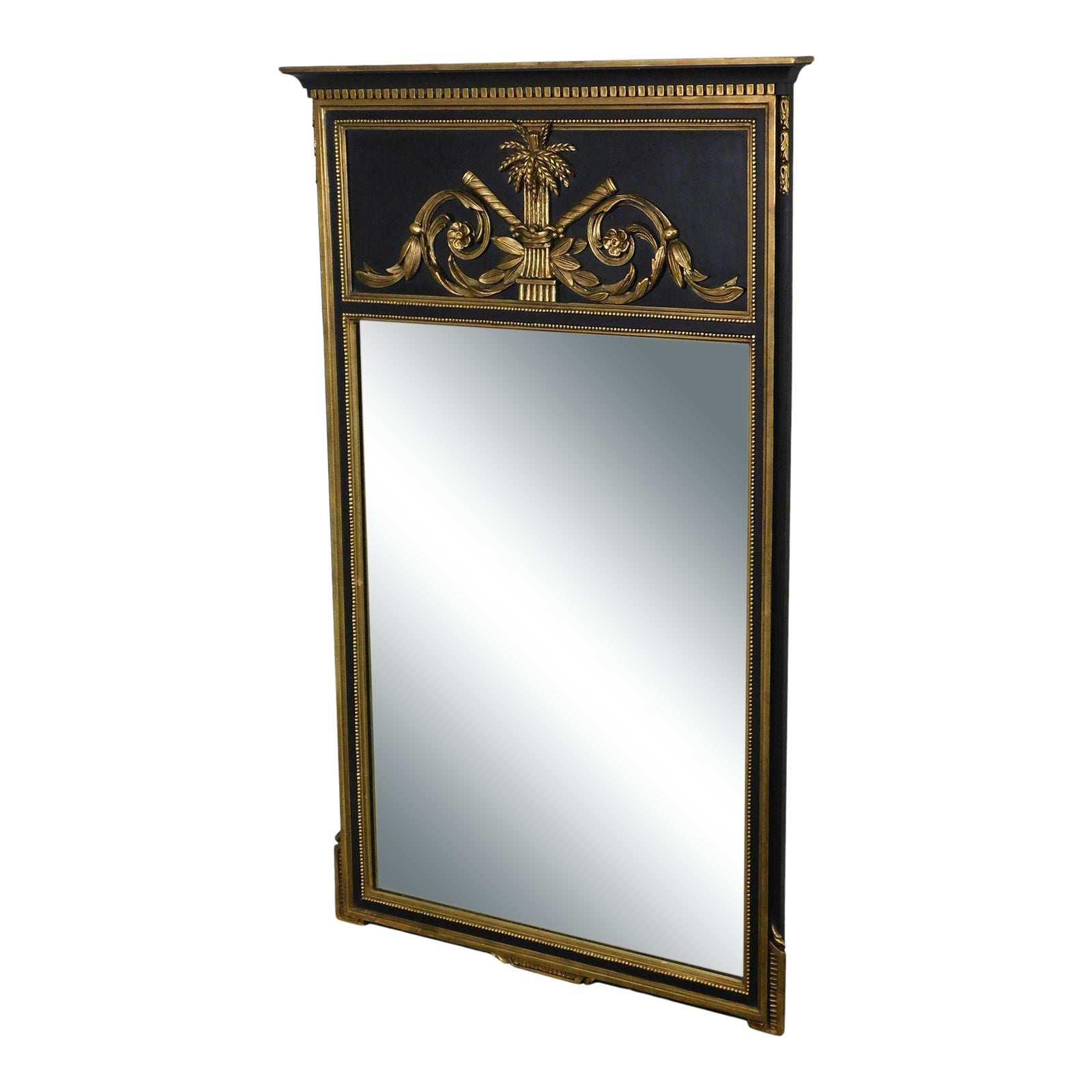 Friedman Brothers French Neo Classical Style Black And Gold Wall Mirror Chairish