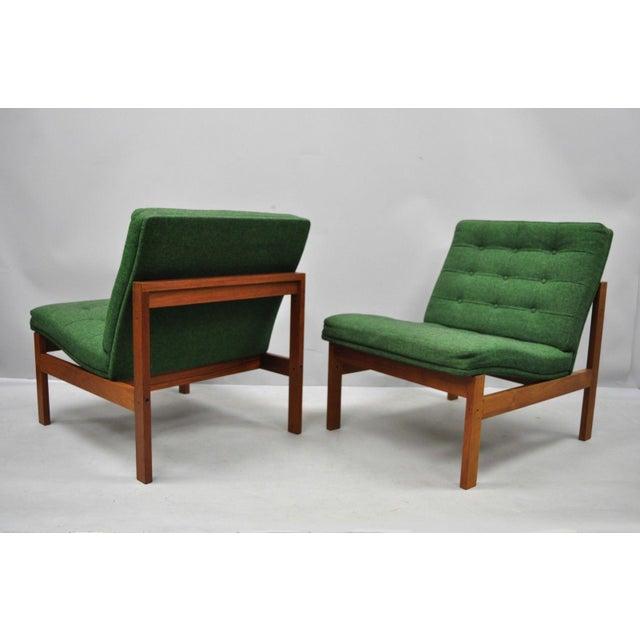 1960s Vintage Gjerlov Knudsen Torben Lind France & Son Green Teak Moduline Slipper Chairs- A Pair For Sale - Image 10 of 11