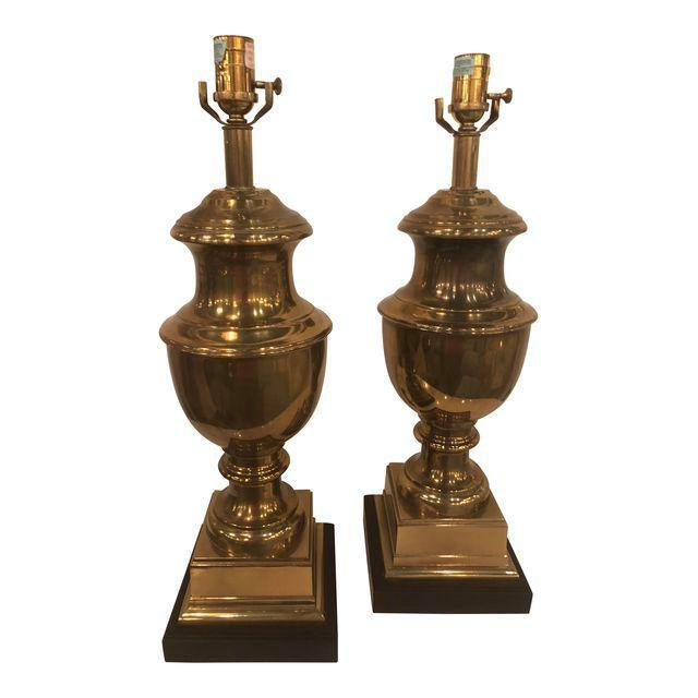 Vintage Brass Urn Table Lamps - a Pair For Sale - Image 11 of 11