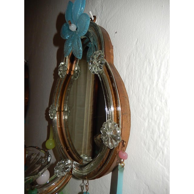 French Multicolored Opaline Murano Glass Mirrored Sconces For Sale - Image 9 of 13
