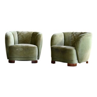 Danish 1940s Viggo Boesen Style Curved Lounge or Club Chairs - a Pair For Sale