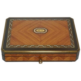 Swiss Exotic Wood, Nacre and Brass Card Games Box, Complete, Circa 1890 For Sale