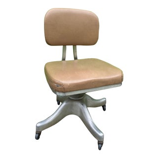 1950s Shaw Walker Mid-Century Industrial Aluminium Swivel Desk Chair For Sale