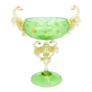 Salviati Murano Venetian Handblown Green and Gold Dragon Centerpiece For Sale