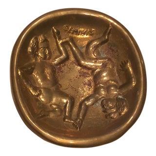Mid Century Modern Brass Astrological Tray Gemini For Sale