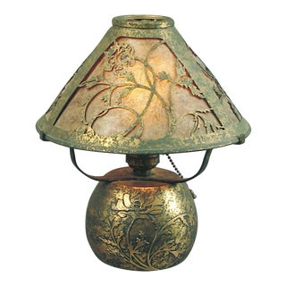 Acid-Etched Bronze Arts & Crafts/Mission Table Lamp For Sale