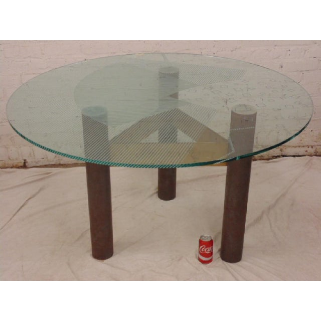 Last Call 1986 Modernage Miami Postmodern Glass & Brass Geometric Dining Table - Image 6 of 6