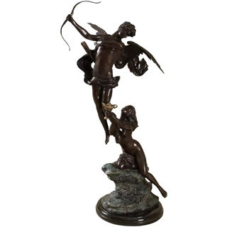 Set of 2 Figurative Maitland-Smith Bronze & Brass Cupid & Female Figure on Marble For Sale
