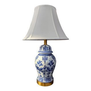 Blue and White Ceramic Lamp For Sale