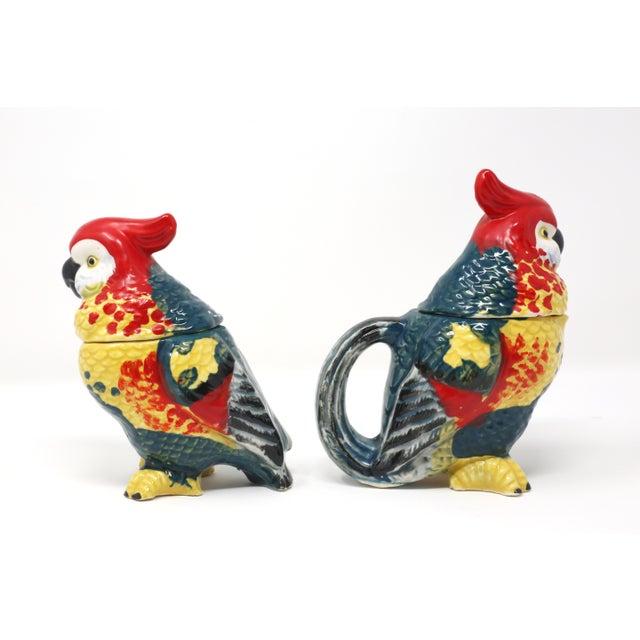 Vintage Hand-Painted Parrots Salt/Pepper and Cream/Sugar Set - Set of 2 For Sale - Image 10 of 13