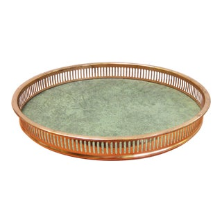 1970s Vintage Green & Copper Serving Tray For Sale