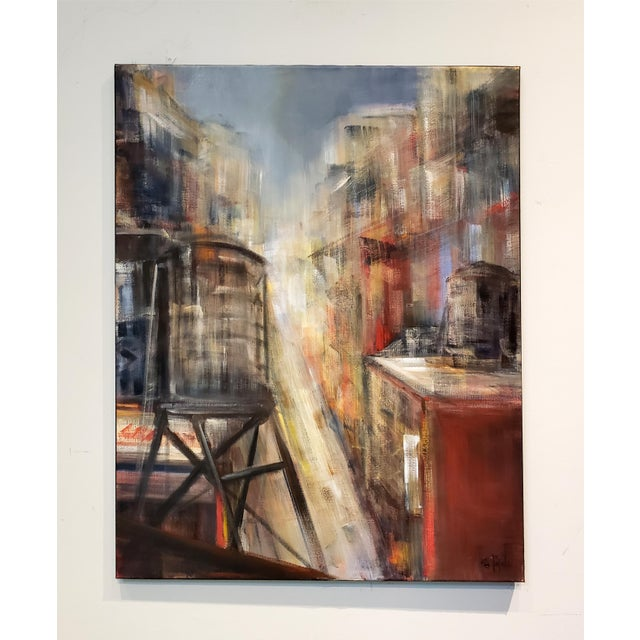 Painting of New York City Rooftops and Water Towers by M. C. Pajeile For Sale In Dallas - Image 6 of 6