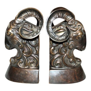 Vintage Bronze Ram Bookends - A Pair
