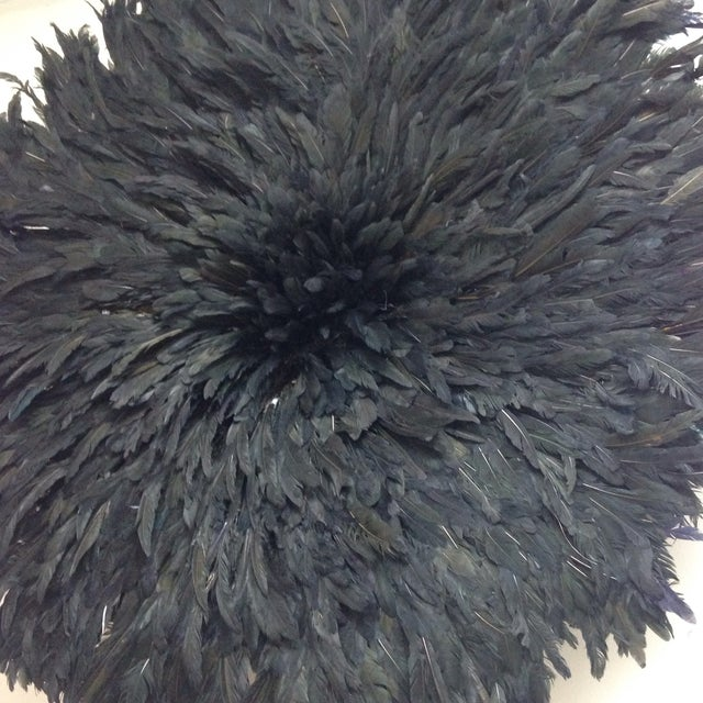 African Modern Authentic Cameroon Black Juju Hat For Sale - Image 3 of 4