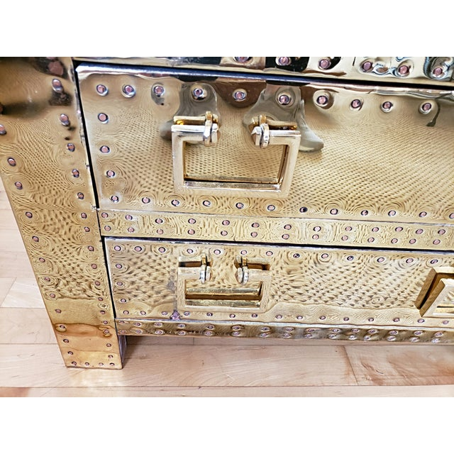 Gold 1970s Hollywood Regency Sarreid Brass 3 Drawer Chest For Sale - Image 8 of 11