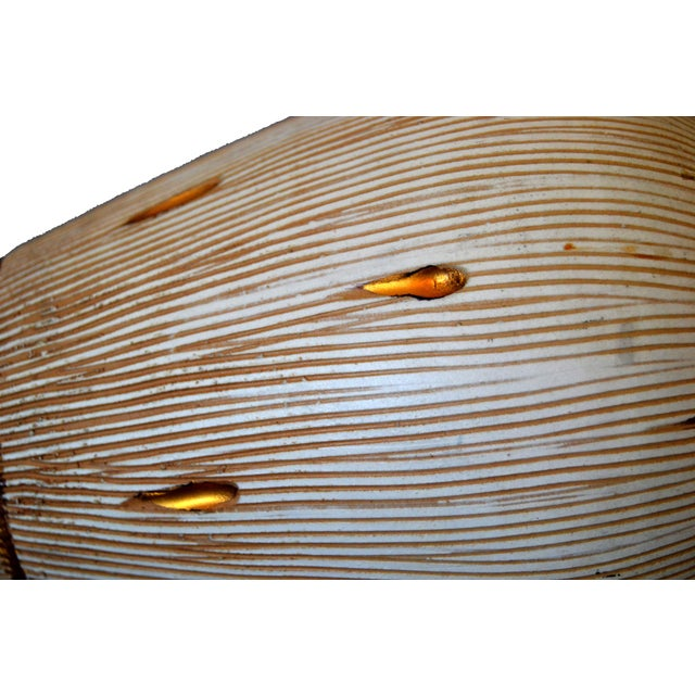 Italian Mid-Century Modern Gold Leaf & Beige Hand-Crafted Ceramic Glazed Vase For Sale - Image 4 of 11