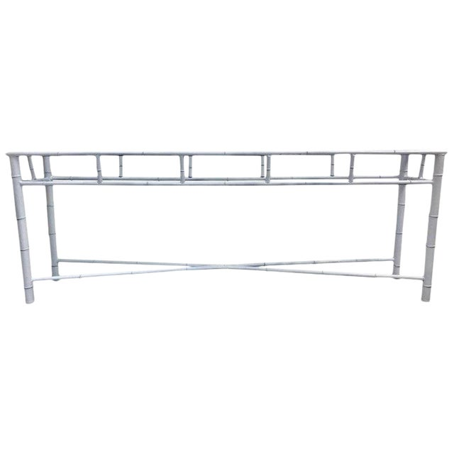 Long Faux Bamboo Console Table For Sale