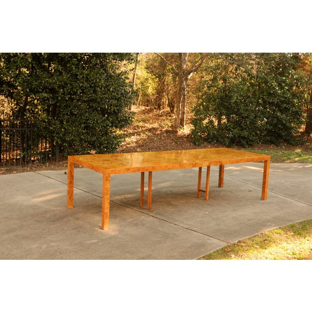 Magnificent Restored Butterfly Patterned Olivewood Dining Table by Milo Baughman for Directional For Sale In Atlanta - Image 6 of 11