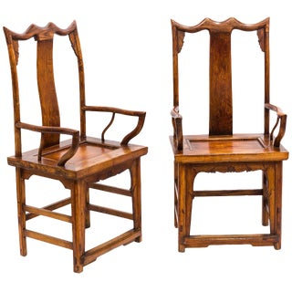 Pair of Japanese High Back Armchairs For Sale