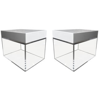 Stunning Side Tables, Benches in Lucite and Corian by Cain Modern For Sale