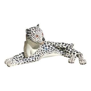 Vintage Italian Porcelain Leopard Figurine For Sale