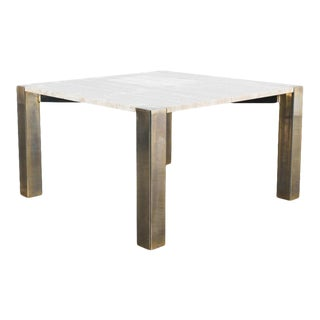 1970s Willy Rizzo Travertine and Brass Medium Coffee Table For Sale