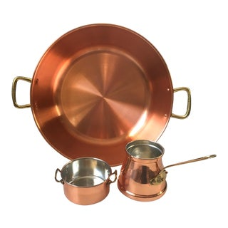 Portugal Copral Copper Basin and Pans - 3 Pc. Set For Sale