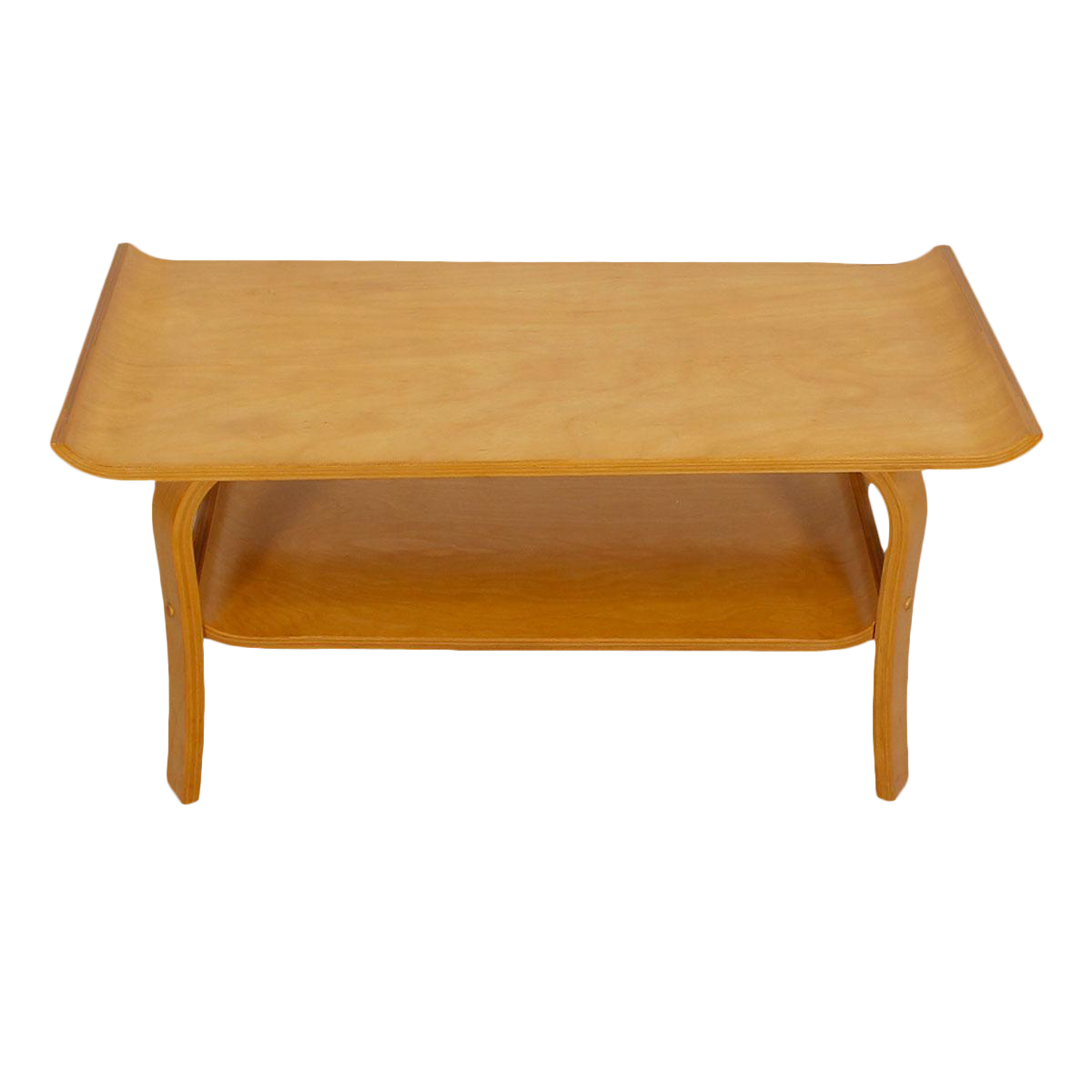 Mid Century Modern Bentwood Coffee Table In Birch With Shelf