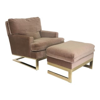 Carsons Brass Framed Lounge Chair & Ottoman For Sale