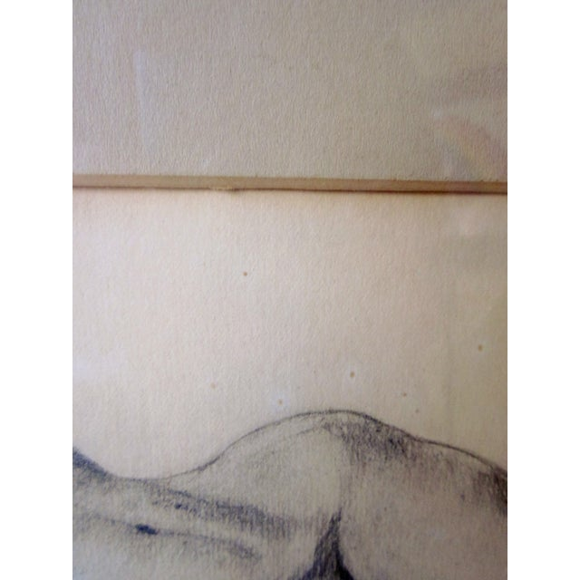 1930s Vintage 1930s Art Deco Nude Portrait Life Figure Pencil Drawing Signed and Framed For Sale - Image 5 of 11