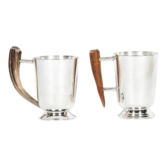 Vintage Silver Plate Mugs With Horn Handle - a Pair For Sale