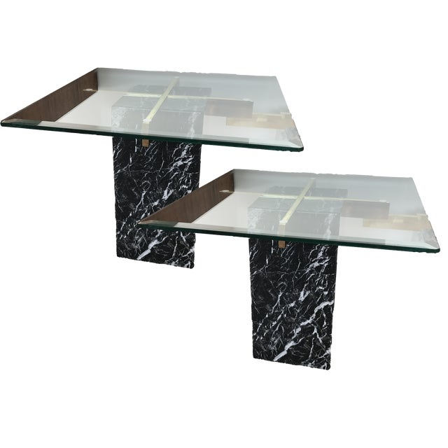 Artedi Nero Marquina Marble Side Tables - A Pair For Sale
