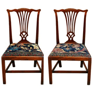 Mid-18th Century American Walnut Chippendale Chairs With Ushak Seats For Sale