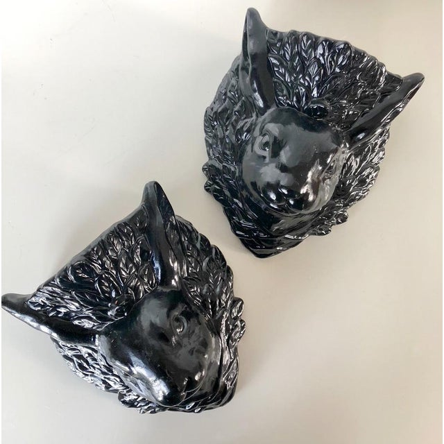 Boho Chic Vintage Rabbit Head Wall Pockets - a Pair For Sale - Image 3 of 9