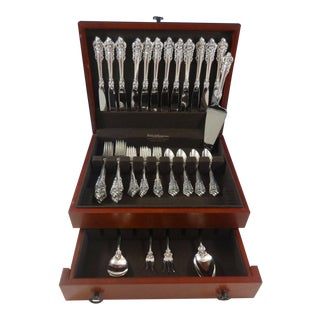 Grande Baroque by Wallace Sterling Silver Flatware Set 12 Service Dinner 53 Pcs For Sale