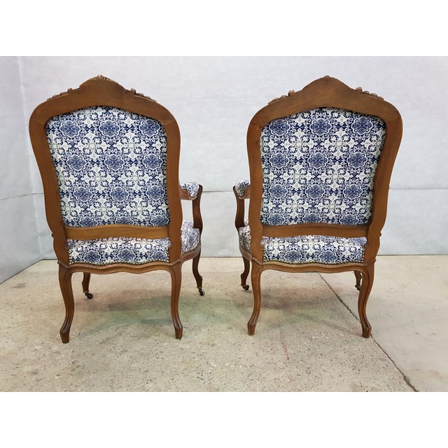 Gorgeous Pair of French Newly Upholstered Carved Walnut Louis XV Caster Wheel Armchairs For Sale - Image 11 of 13
