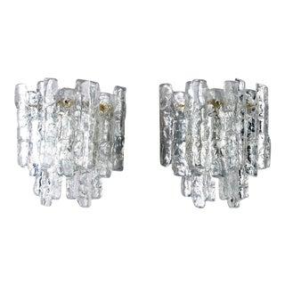 Mid-Century Kalmar of Austria Ice Glass Sconces - A Pair