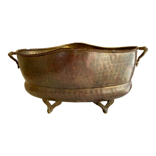 Classic English Cottage Style Aged Brass Plant Vessel For Sale