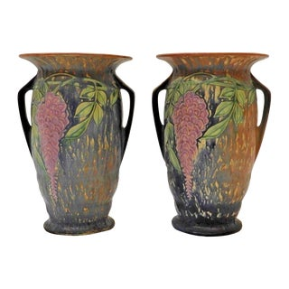 Roseville Pottery Wisteria Blue Vases, Circa 1933 - A Pair For Sale