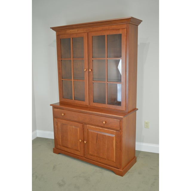 Woxall Woodcraft Hand Crafted Solid Cherry China Cabinet Hutch For Sale - Image 11 of 12