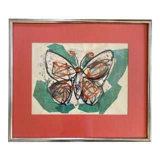 1960s Mid Century Butterfly Paper Collage Painting, Framed For Sale
