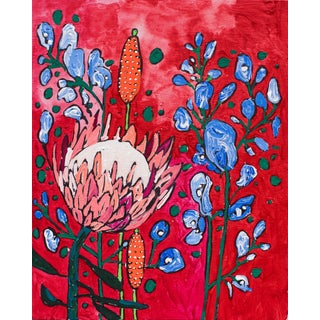 Red Garden with Protea & Delphiniums Floral Painting For Sale
