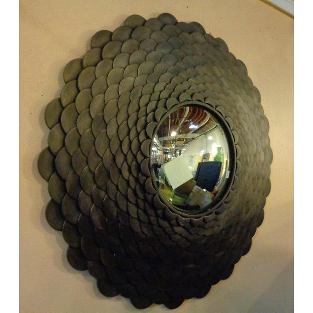 Palatial Modernist Steel Fish Scale Convex Wall or Console Mirror For Sale - Image 4 of 10