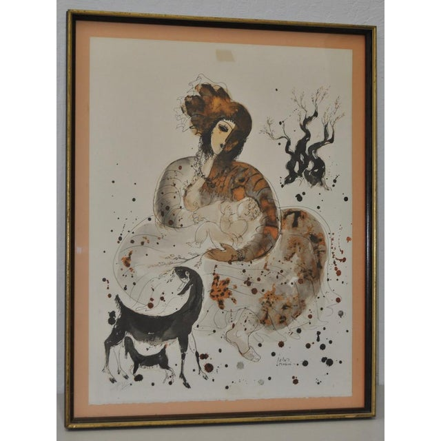 Hand-colored lithograph by Israeli artist Reuven Rubin c.1960 From the Visages D' Israel series. This wonderful lithograph...