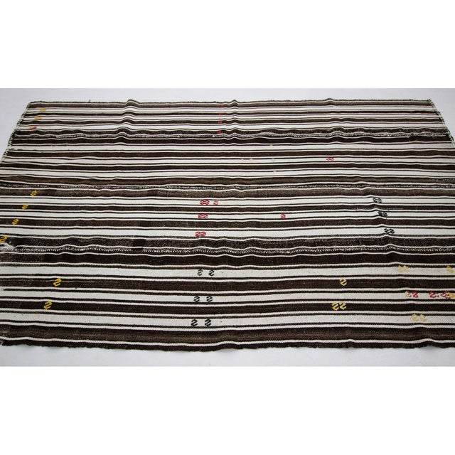 Contemporary 1960s Vintage Brown & White Striped Kilim Rug- 5′8″ × 9′6″ For Sale - Image 3 of 7